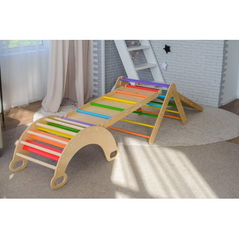 Set of 4 items (colored triangle+arch+2 ramps)