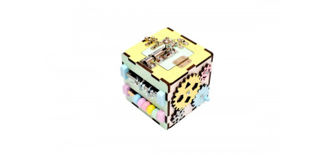 Travel busy cube for toddler Pastel colors
